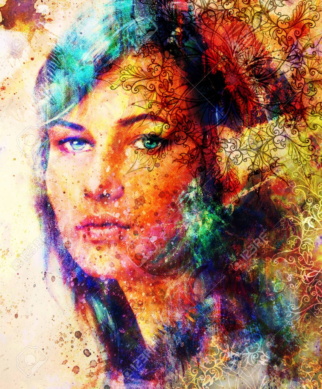 Beautiful Painting Goddess Woman with ornamental mandala and color abstract background.